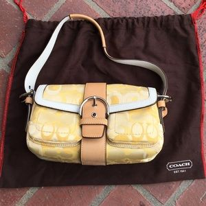 Fabric Coach purse canary yellow
